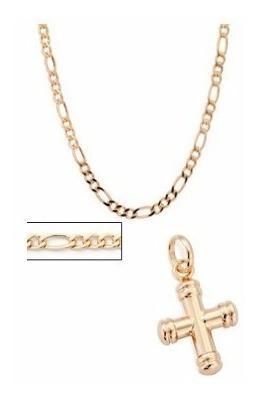 Conjunto Masculino Cordão 60cmcrucifixo Rommanel Folheado