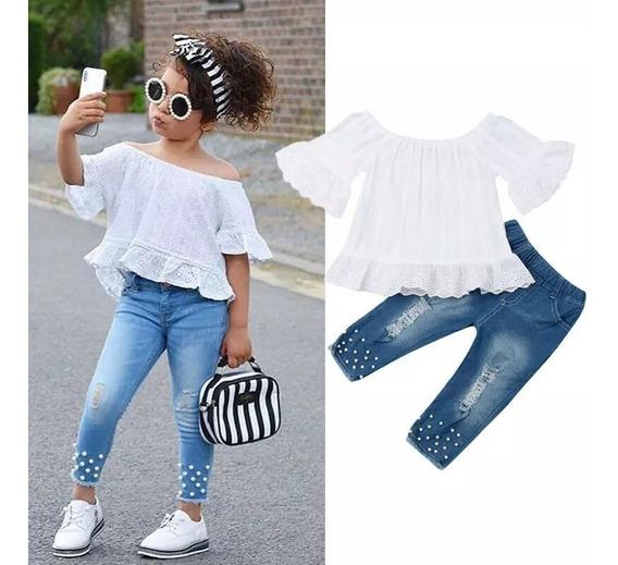 Conjunto Infantil Calça Jeans Cropped E Blusa Ciganinha