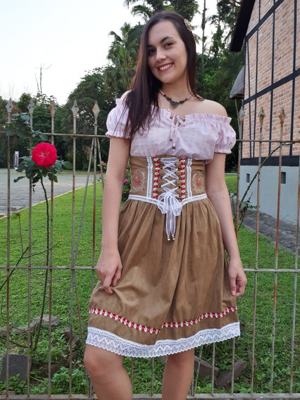 Traje Típico Alemão Vestido Oktoberfest Camurça +blusa M