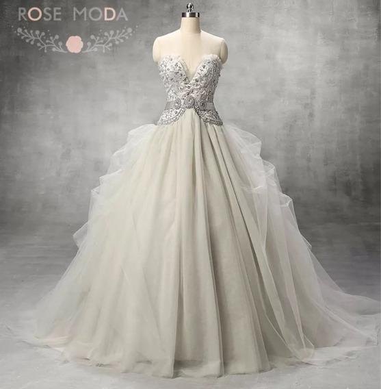 Vestido De Novia Boda Elegante Perlas Gris Envío Gratis