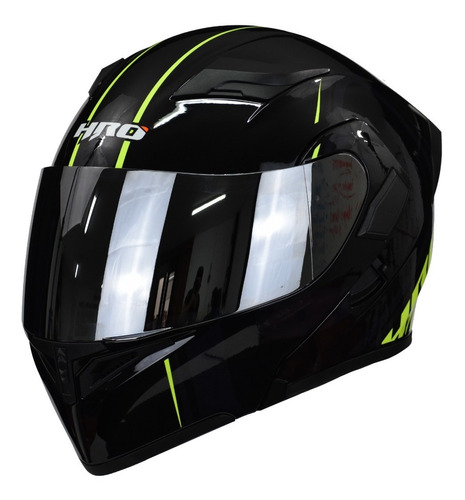 Casco Moto Abatible Hro 3400dv Unit Negro Amarillo Con Luz