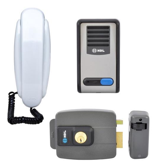 Kit Interfone Residencial Hdl F8 Com Fechadura Elétrica C90
