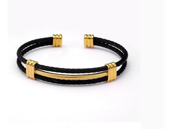 Pulseira Masculina Prateada Bracelete Preto Em Aço Inox