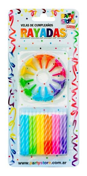 Velas Rayadas Multicolor X 24 Con Base - Ciudad Cotillón