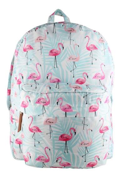 Mochila De Flamingo Azul Escolar Nacional Resistente Nova