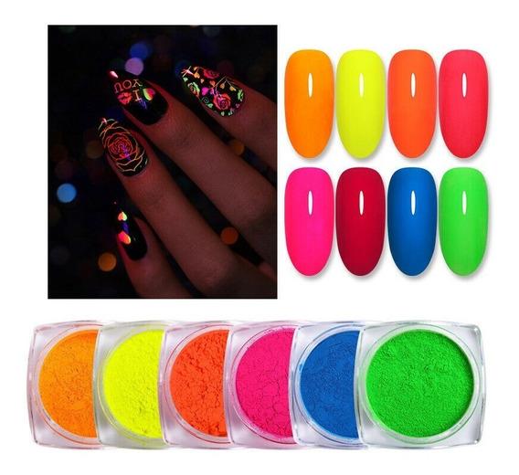 Born Pretty Polvo Fluor Neon Brilla Oscuridad Nail Art Unas
