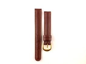 Pulseira Para Relógio Em Couro Marrom 16mm Masculina B5375
