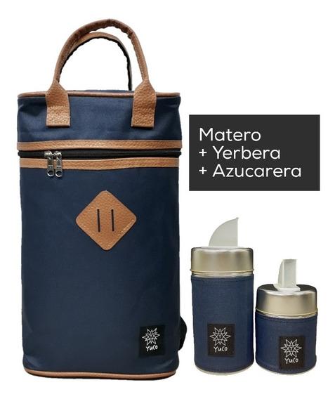 Equipo De Mate Set Matero   Bolso + Latas   Azul   Yuco