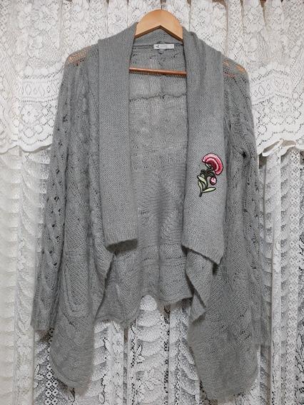 Saco Cardigan Sweater Inedita Gris Plata