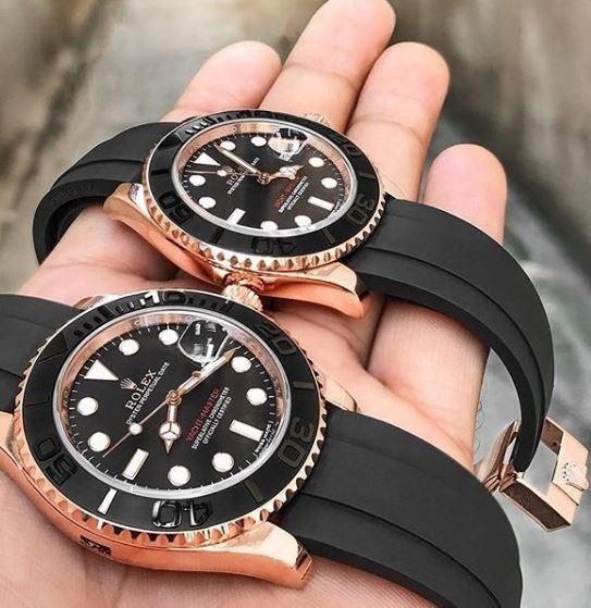 Relógio Rolex Automático Aço Inox Pulseira Borracha