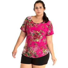 Lote 100 Blusa Plus Size Malha Fria Baby Look Estampada