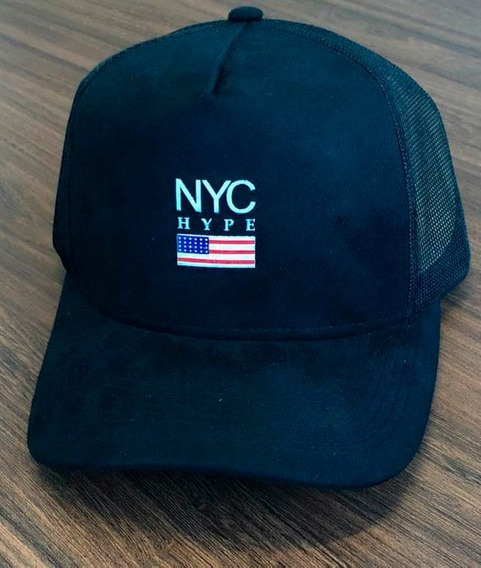 Boné Aba Curva Trucker Snapback Nyc New York City Preto