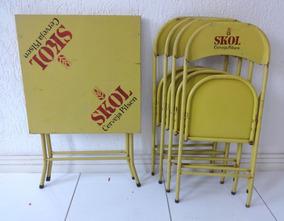 Mesa + 04 Cadeiras De Ferro Cerveja Skol - Dobrável + Brinde