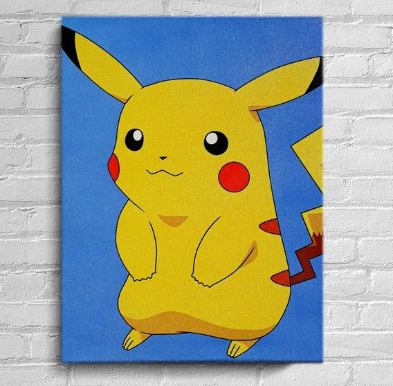 Quadro Pikachu Impressão Em Tela De Pintura 30x40cm