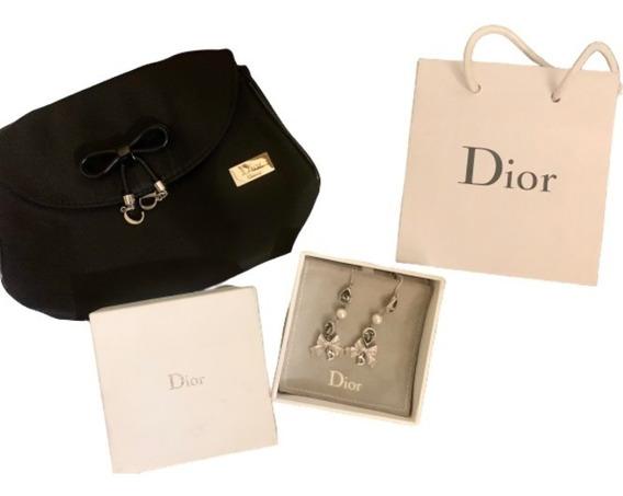 Aretes Christian Dior Vintage Fantasía Y Cosmetiquera
