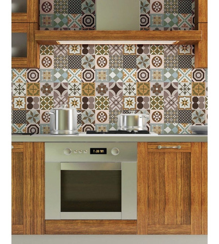 Imagem 1 de 2 de Papel De Parede Azulejo Cozinha Marroquino Lavável Vinil 4 M