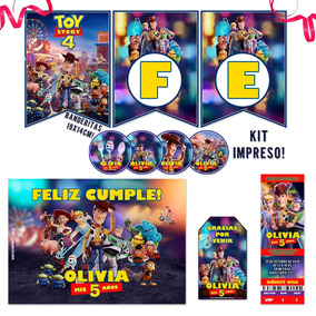 Kit Toy Story Banderín Stickers Tarjetas Impreso