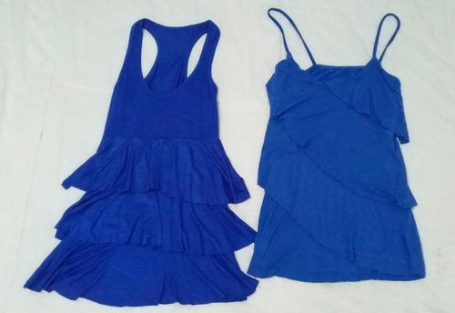 Lote 2 Remeras De Mujer Talle S Azul Francia Con Boladitos
