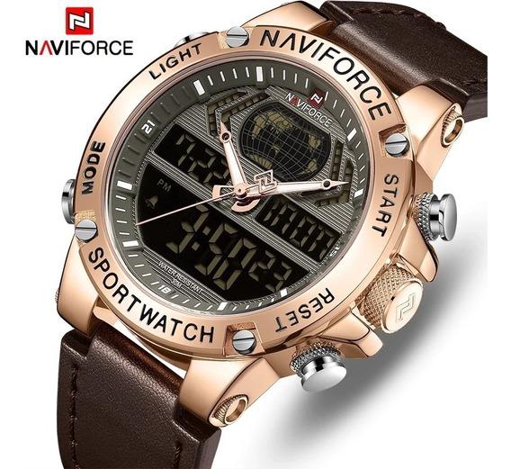 Relógio Masculino Naviforce 9164 Pulseira De Couro Original