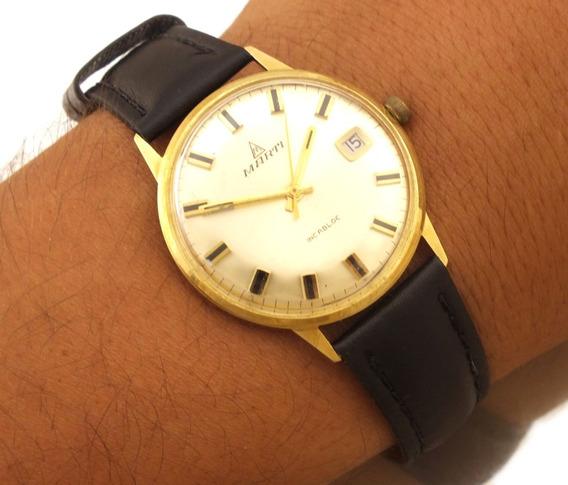 Relógio Pulso Masculino Marti Incabloc Date Ouro 14k J10839