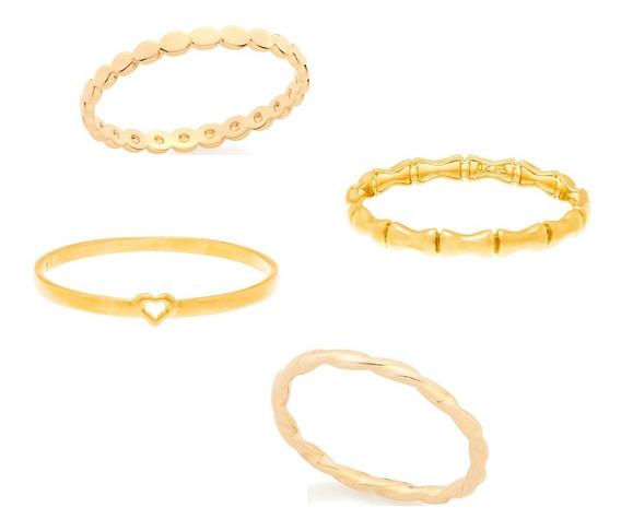 4 Anéis Fininhos Folheados Ouro Skinny Ring Falange Bonito