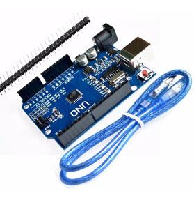 Arduino Uno Rev3 R3 Atmega328 Smd Cabo Usb E Placa Pinos