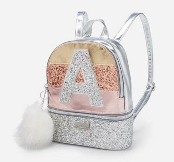 Glitter Stripe Initial Mini Backpack Inicial J