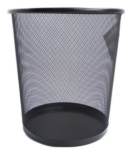 Papelera De Piso Metalica Negra Myvo Ref.5239