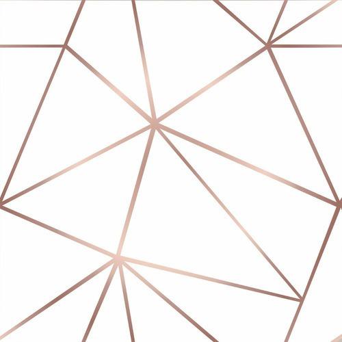 Papel De Parede Adesivo Geométrico Branco E Rosê Gold 2,50m