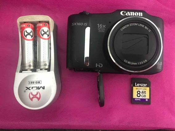 Câmera Canon Sx160 Is Com Carregador E Cartão