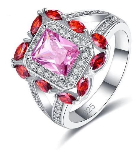 Anel Feminino Lançamento Vermelho E Rosa Banhado Em Prata