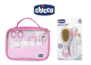 Set Cuidado Higiene Chicco Peine Cepillo Alicate Rosa/celes