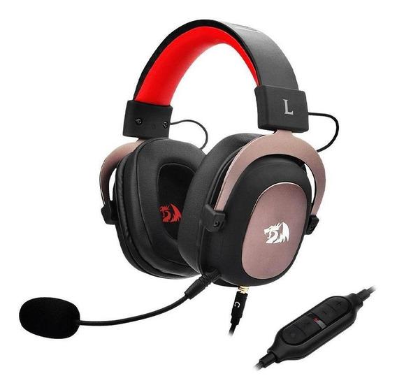 Headset Gamer Redragon Zeus 7.1 Preto E Vermelho Com Fio Pc