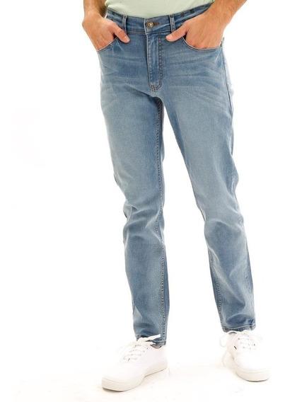 Pantalón De Mezclilla Slim Azul Claro Para Hombre Hang Ten
