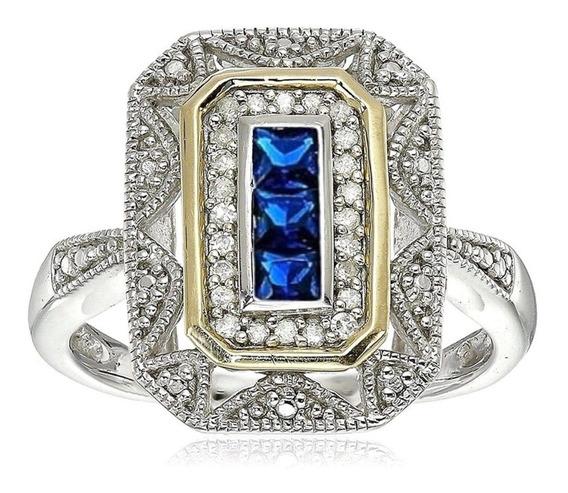 Anel Banhado Ouro Feminino Formatura Curso Safira Azul 593 I