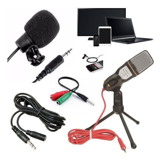 Kit Youtuber Microfone De Mesa + Lapela Celular Pc Universal