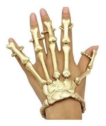 Pulseira Com Anel Caveira Esqueleto Anel Dourada Ossos