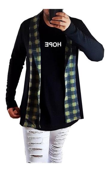 Cardigan Blazer Comprido Longo Masculino Casaco Manga Longa