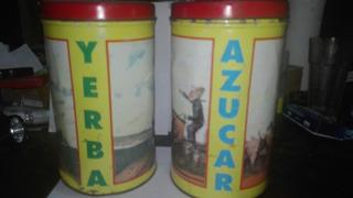 ,latas Antiguas Para Yerba Y Azúcar,escenas Molina Campos.