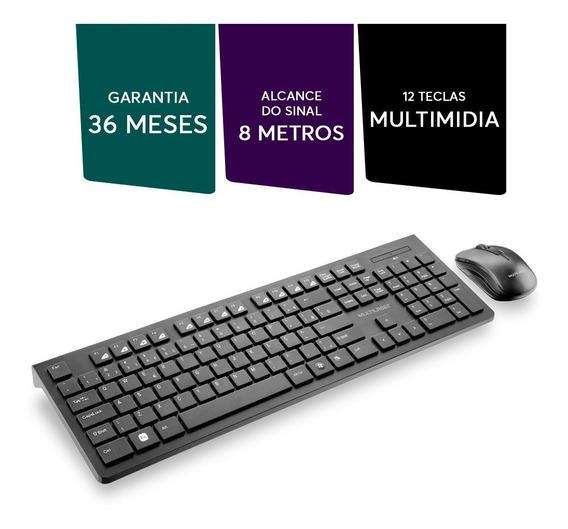 Teclado + Mouse Usb Wireless Preto Multilaser Tc212