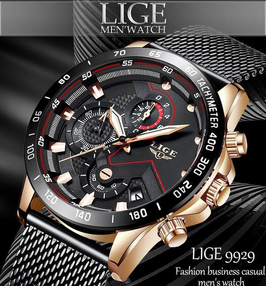 Relógio Lige 9929 Original Fashion Cronógrafo Pronta Entrega