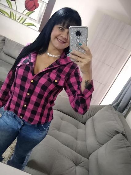 Blusa Camisa Feminina Xadrez Flanelada Com Touca C/ Touca
