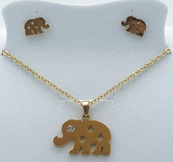 Collar De Elefante Y Aretes Acero Inoxidable Dorado