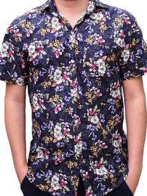 Camisa Floral Masculina Azul Florida Social Pronta Entrega