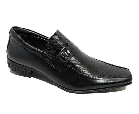 Sapato Social Calvest Em Couro Com Textura Masculino - Preto