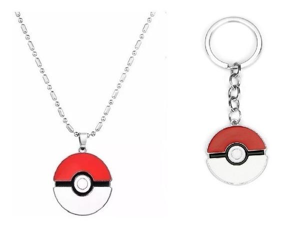 Set Collar Y Llavero Pokemon Pokebola Picachu Envio Gratis