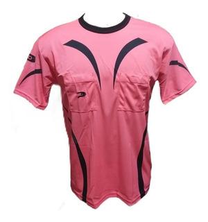 Camisa De Arbitro/juiz Placar Rosa/preta Luminosa