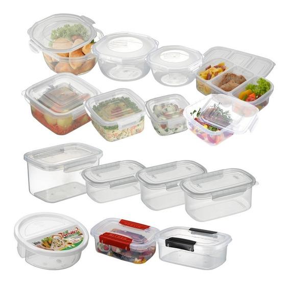 Conjunto Potes Microondas E Freezer Plástico Pacote 15un