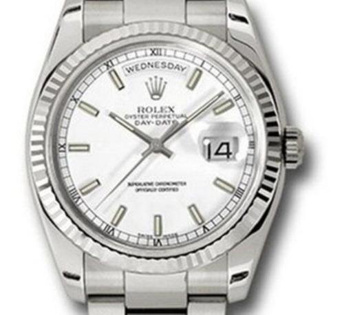 Rolex Day-date Presidente Prateado 36mm + Caixa Rolex + Nfe