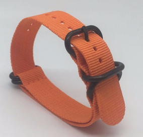 Correa Reloj Nato Zulu 22mm Naranja Anillos Pvd